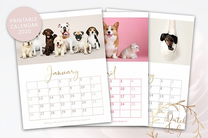 Printable Monthly Calendar 2020 Dogs