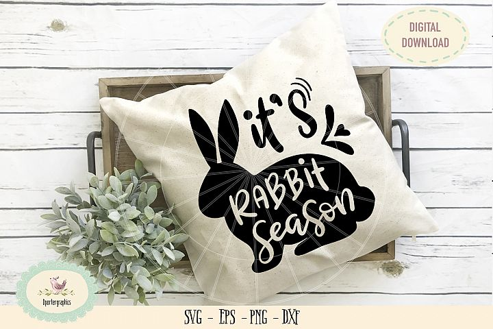 It is rabbit season SVG PNG hand lettered easter