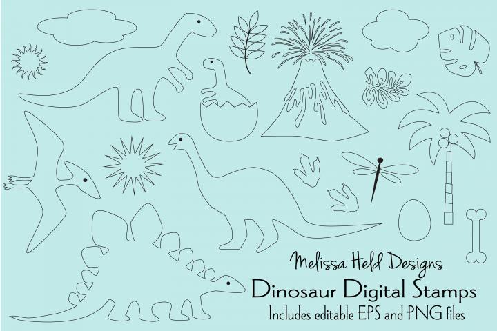 Dinosaur Digital Stamps Clipart