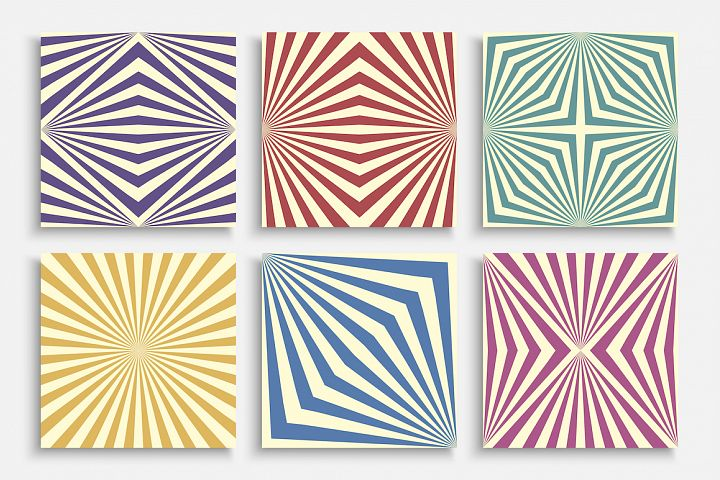 Colorful striped retro cards