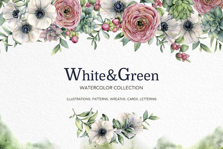 White&Green. Watercolor anemone set