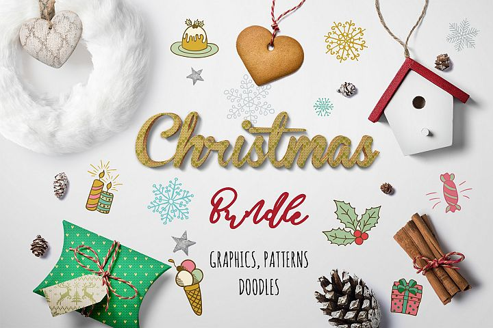 Christmas Graphic Bundle 97 OFF Xmas Doodles Patterns
