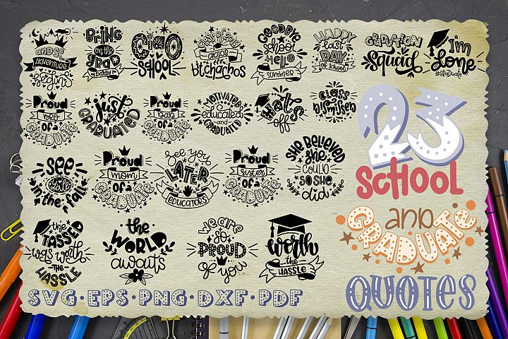 School bundle svg Teacher hand lettered Graduate Graduation