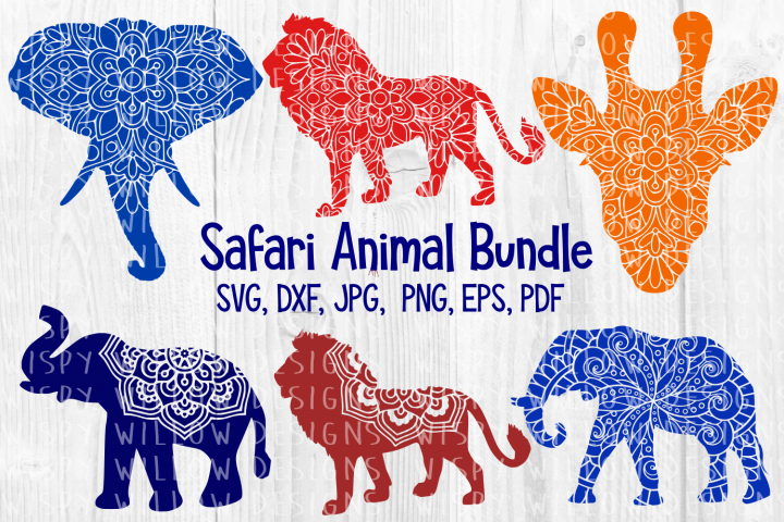 Safari Animal Mandala Bundle, Lion, Elephant, Giraffe SVG