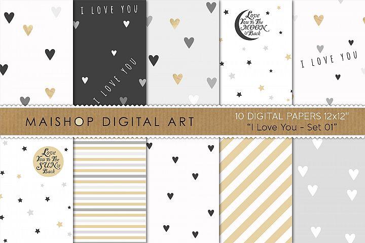 Instant Download Digital Paper Pack - I love You Set 01