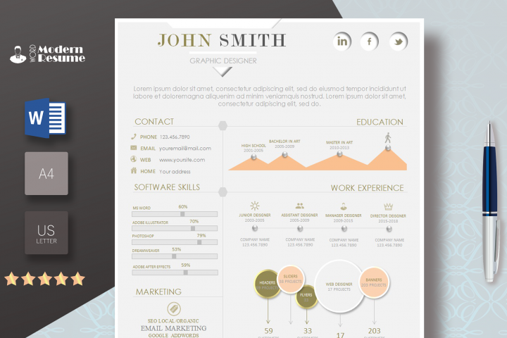 Page Resume Template  + Cover Letter Template