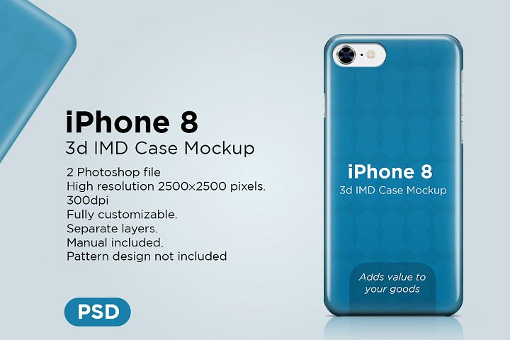 Apple iphone 8 3d case Mockup