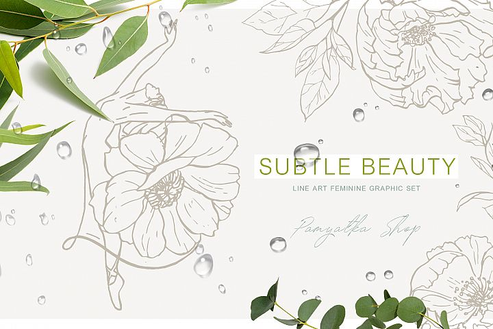 Subtle beauty. Line art floral vector set