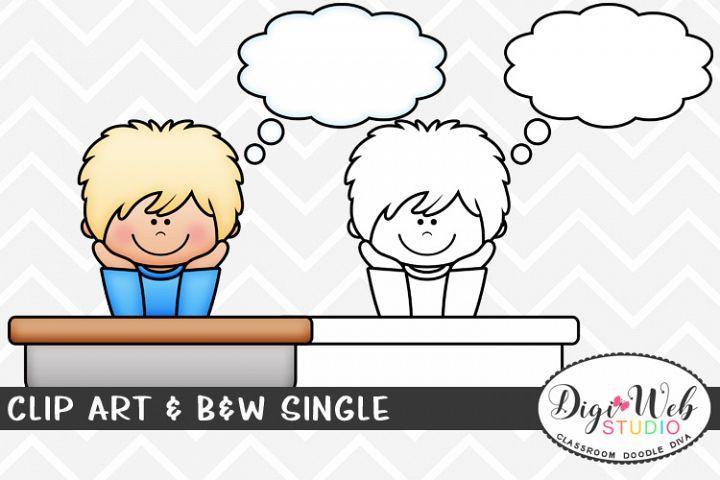 Clip Art & B&W Single - Boy w/ Thought Bubble at School Desk