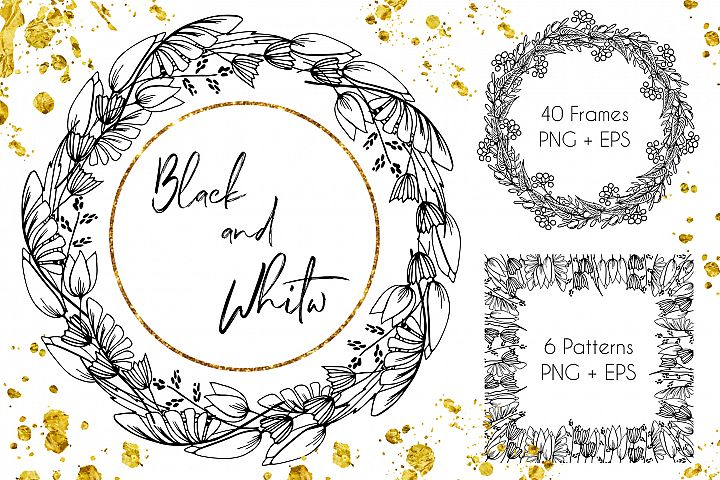 Black-White Floral Frames - Vector Set