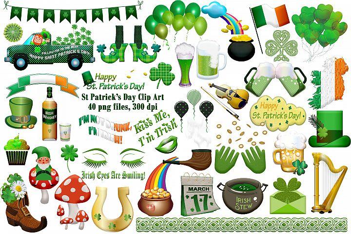 St Patricks Day Clip Art, Balloons, Leprechaun, Green Beer