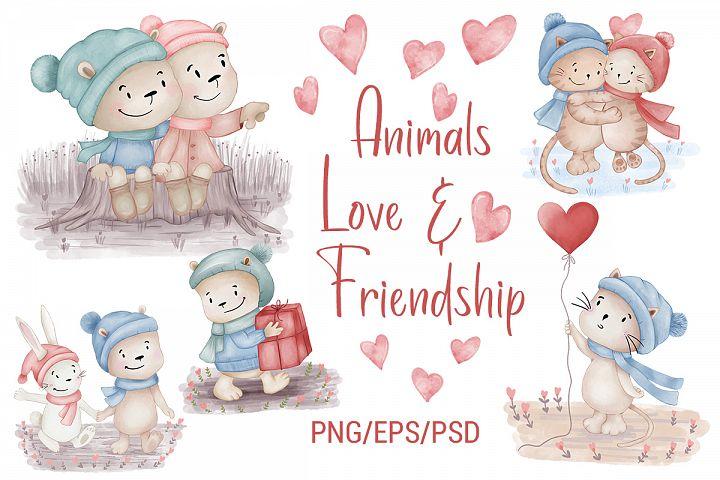 Illustrations of Animals. Animals Love. Friendship. Clipart