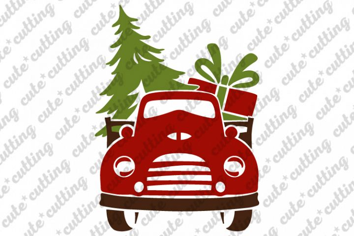 Front Christmas truck with tree and gift svg, png, dxf, pdf