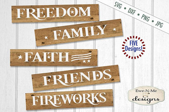 Patriotic Sign Bundle - July 4th - Independence Day - SVG