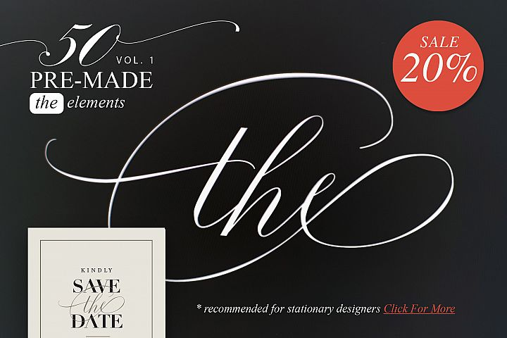 Fifty pre-made elements of THE