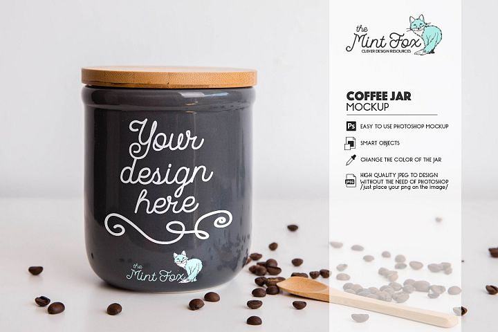 Jar Mockup with Coffee Beans | PSD & JPG Mockup