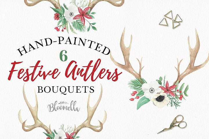 Watercolor Christmas Antler Clipart Bouquets Flowers Stag