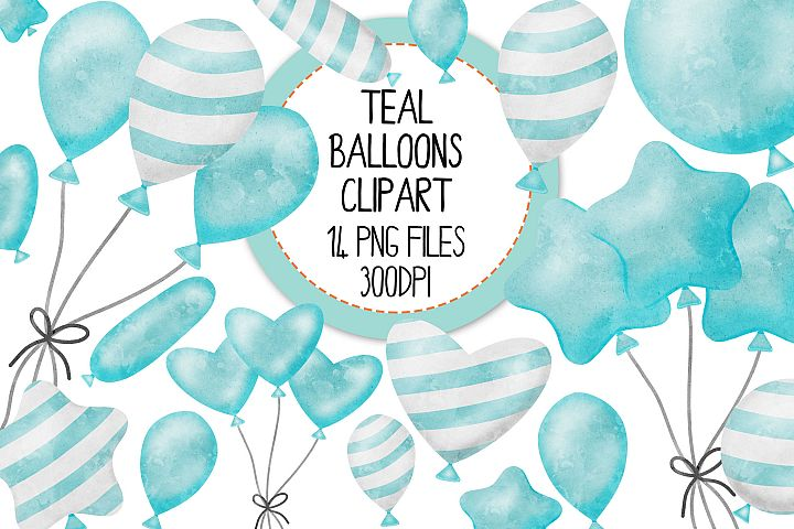 Teal Watercolor Balloon Clipart Set