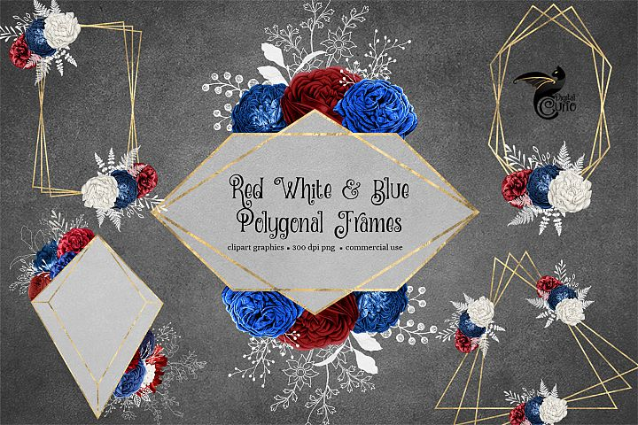 Red White and Blue Polygonal Frames Clipart
