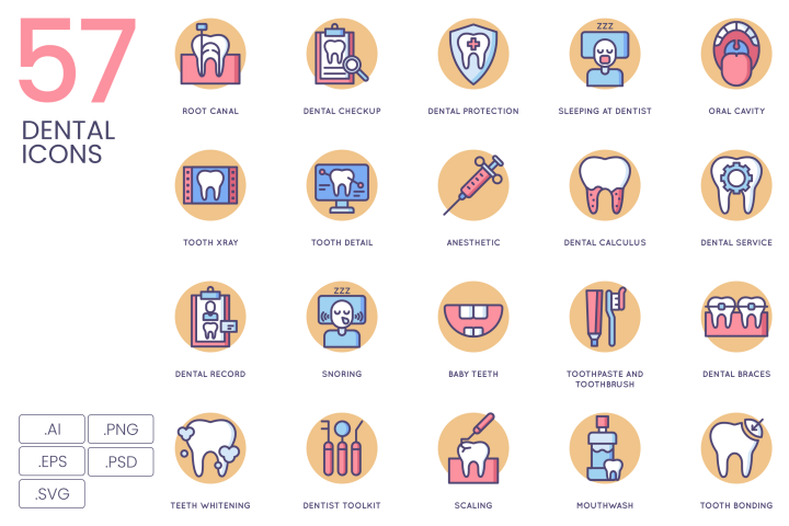 57 Dental Icons Butterscotch Series