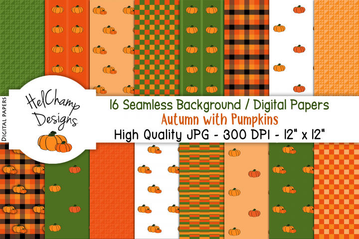 16 seamless Digital Papers - Autumn with Pumpkins