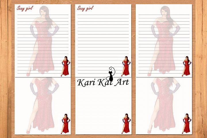 Pack printable journal page Sexy girl red, stationery