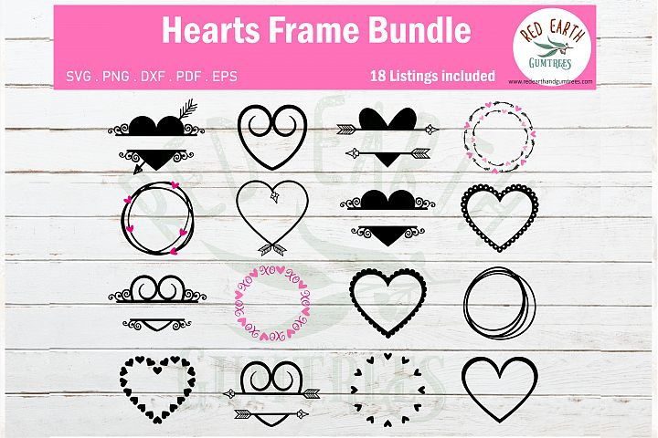 valentines day heart monogram frame bundle SVG,PNG,DXF,EPS