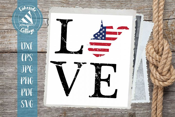 LOVE West Virginia - 4th of july svg - memorial day svg dxf