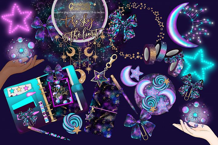 The Sky is The Limit - New years planner clipart collection
