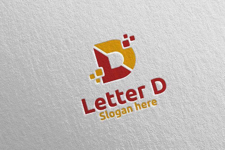 Digital Letter D Logo Design 11