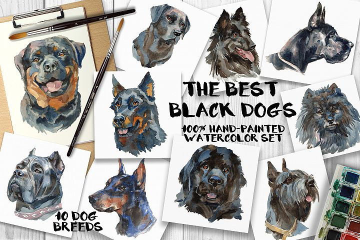 The best black dogs watercolor set