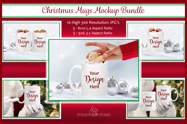 Christmas Mug Mockup Bundle, Cup Mock Up Bundle, JPG