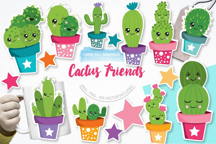 Cactus Friends graphics and illustrations