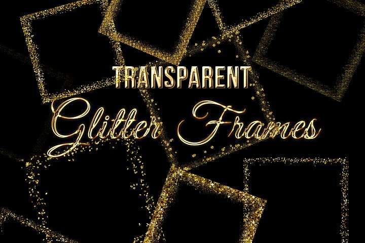 Transparent Gold Glitter Frames