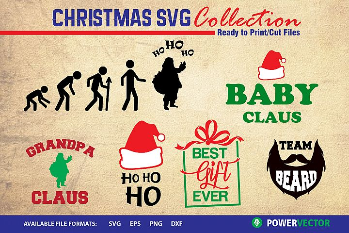 Christmas SVG Collection - Santa Claus, Ho ho ho, Gift