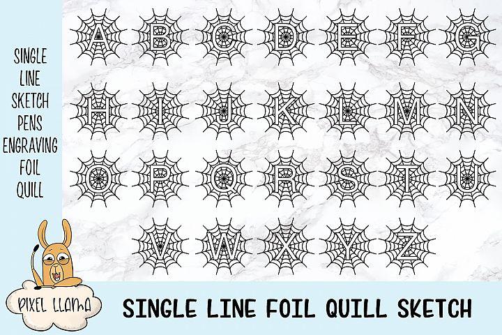 Single Line Sketch Foil Quill Halloween Monogram Alphabet