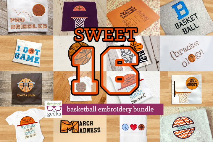 Sweet 16 Basketball Applique Embroidery Design Bundle