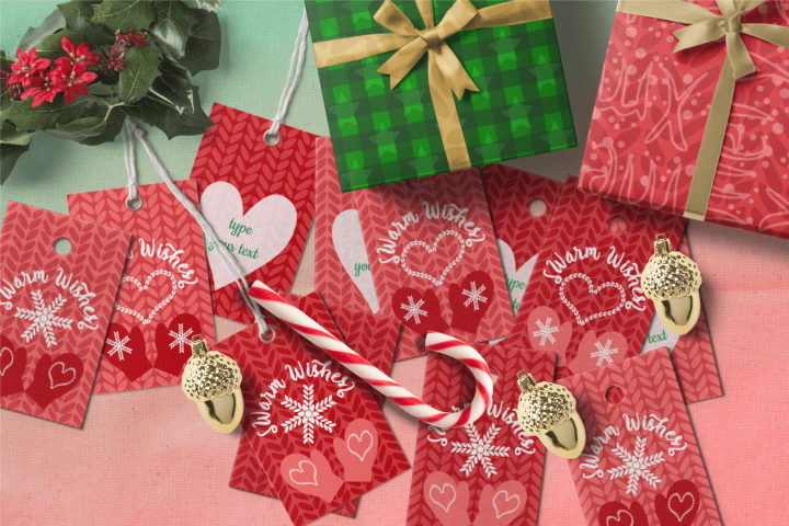 Printable Warm Wishes Red Tags Knitting Branding Tags