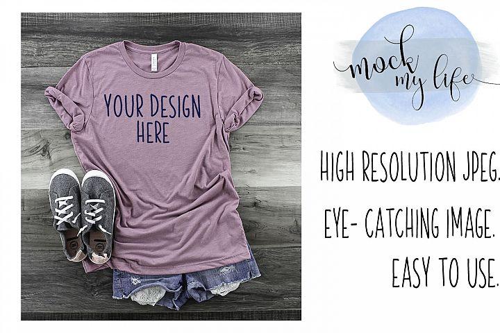 Mockup Bella Canvas Shirt / Flat Lay / Orchid Shirt