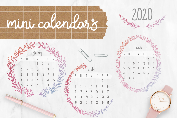 Digital Stickers Mini calendars for 2020, PNG GoodNotes