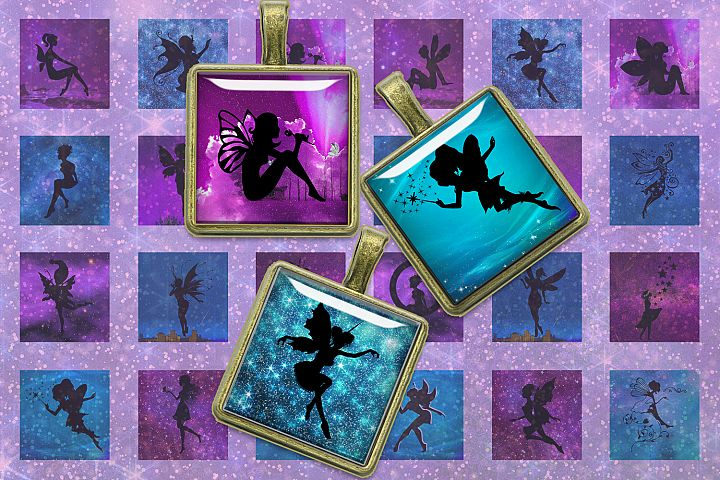 Fairies Silhouettes,Squares Digital Collage Sheet,Shine