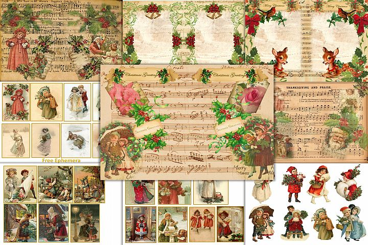 Country Christmas Backgrounds with FREE Ephemera and Clipart