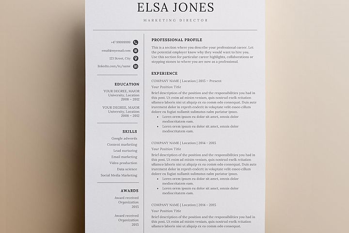 Resume template & Cover Letter + Icon Set for Microsoft Word | 3 Page Pack | Minimalistic and professional resume | Instant Download