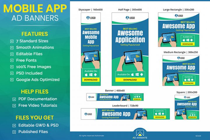 Mobile Application Animated Ad Banner Template