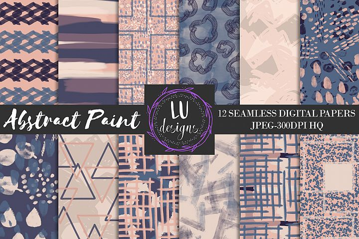 Navy and Nude Abstract Paint Digital Paper