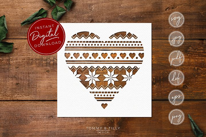 Christmas Pattern Heart - SVG EPS DXF PNG PDF JPG Cut File