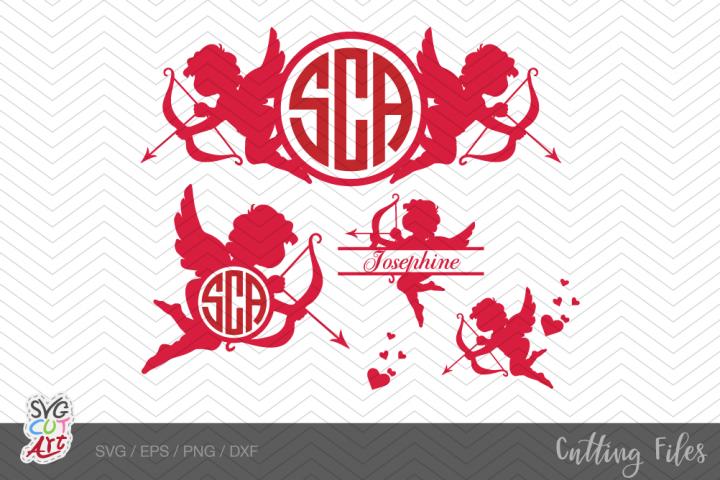 Cupid valentine monogram, Cupid monogram svg, Cupid svg