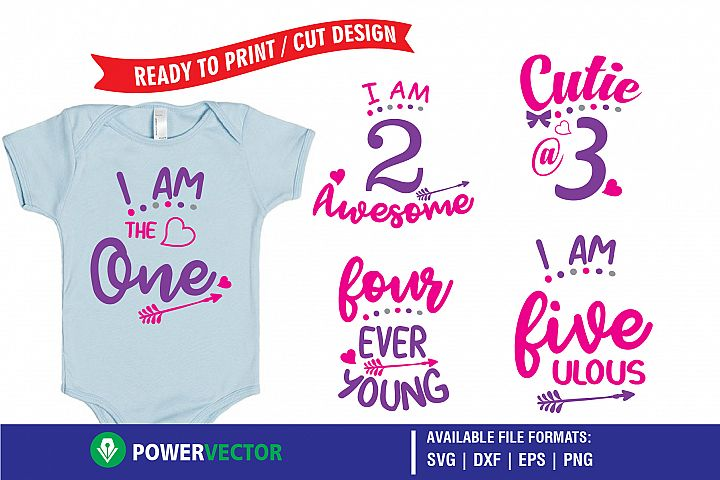 Kids Birthday Party T-Shirt Designs -Printing, Cutting Files