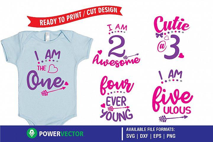 Kids Birthday Party T-Shirt Designs -Printing, Cutting Files