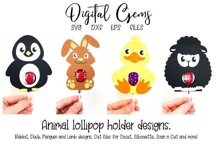 lollipop holder designs. Lamb, Rabbit, Duck and Penguin
